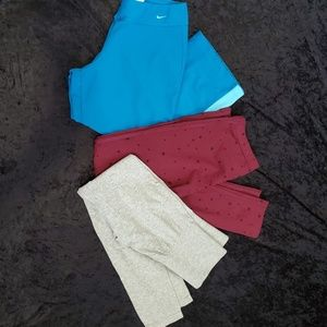 Nike capris and other brand  leggings.  Size M.